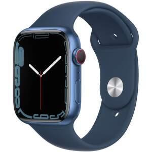 Apple Watch Series 7 GPS + Cellular 45 mm modrý hliník s hlbokomorsky modrým športovým remienkom