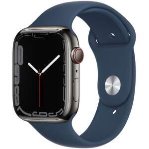 Apple Watch Series 7 GPS + Cellular 45 mm grafitovo sivá nerezová oceľ s hlbokomorsky modrým športovým remienkom-1_EAEN