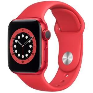 Apple Watch Series 6 40mm červený hliník s červeným sportovním řemínkem-1