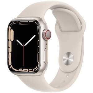 Apple Watch Series 7 GPS + Cellular 41 mm hviezdne biely hliník s hviezdne bielym športovým remienkom-1_EAEN