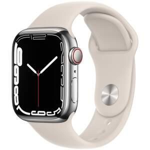 Apple Watch Series 7 GPS + Cellular 41 mm strieborná nerezová oceľ s hviezdne bielym športovým remienkom