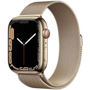 Apple Watch Series 7 GPS + Cellular 45 mm zlatá nerezová oceľ so zlatým milánskym ťahom