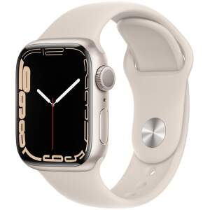 Apple Watch Series 7 GPS 41 mm hvězdné bílý hliník s bílým sportovním řemínkem