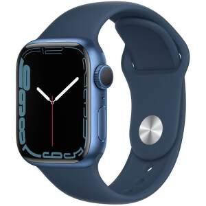 Apple Watch Series 7 GPS 41 mm modrý hliník s hlubokomořsky modrým sportovním řemínkem