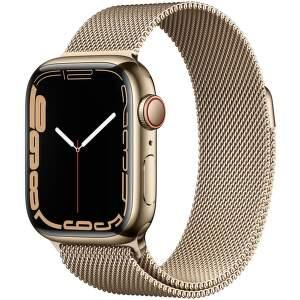 Apple Watch Series 7 GPS + Cellular 41 mm zlatá nerezová oceľ so zlatým milánskym ťahom