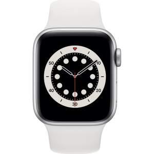 Apple Watch Series 6 GPS + Cellular 40 mm stříbrný hliník s bílým sportovním řemínkem