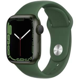 Apple Watch Series 7 GPS 41 mm zelený hliník s jetelově zeleným sportovním řemínkem