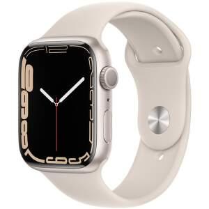 Apple Watch Series 7 GPS 45 mm hvězdné bílý hliník s bílým sportovním řemínkem