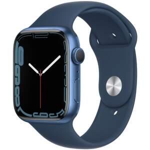 Apple Watch Series 7 GPS 45 mm modrý hliník s hlubokomořsky modrým sportovním řemínkem