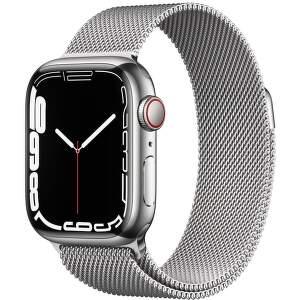 Apple Watch Series 7 GPS + Cellular 41 mm strieborná nerezová oceľ so strieborným milánskym ťahom