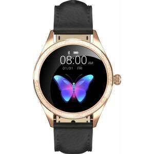 Armodd Candywatch Crystal 2 zlaté s čiernym koženým remienkom