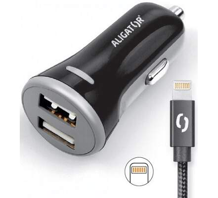 Aligator 2x USB 3,4A Smart IC autonabíječka + lightning kabel, černá
