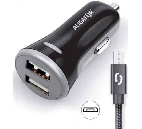 Aligator 2x USB 3,4A Smart IC autonabíječka + micro USB kabel, černá