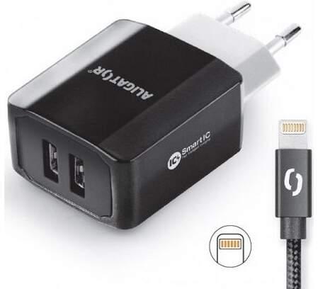 Aligator Smart IC 2x USB síťová nabíječka, černá + kabel USB/Lightning